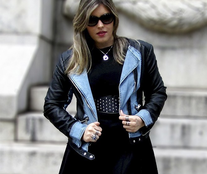 Look Emme: Couro & Jeans!
