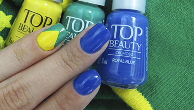 Esmalte Copa do Mundo Top Beauty Verde e Amarelo 2