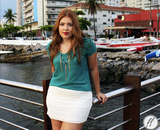 Look com Saia de Renda no Deck do Pescador!
