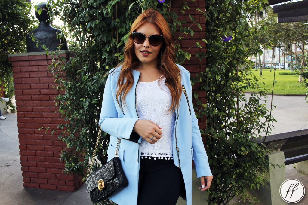 Look Casaco Azul Trench Coat 12