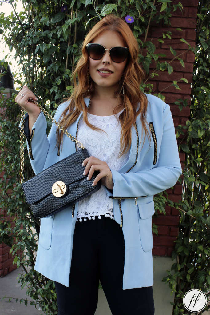 Look Casaco Azul Trench Coat 3