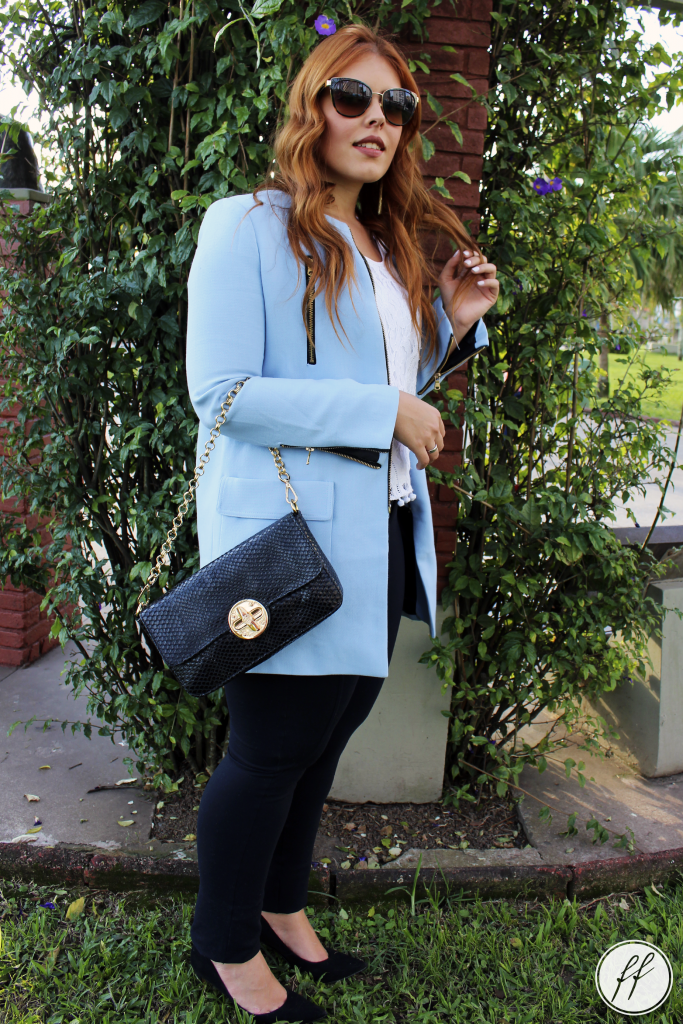 Look Casaco Azul Trench Coat 5