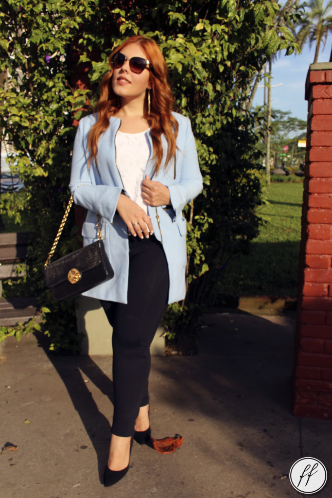 Look Casaco Azul Trench Coat 8