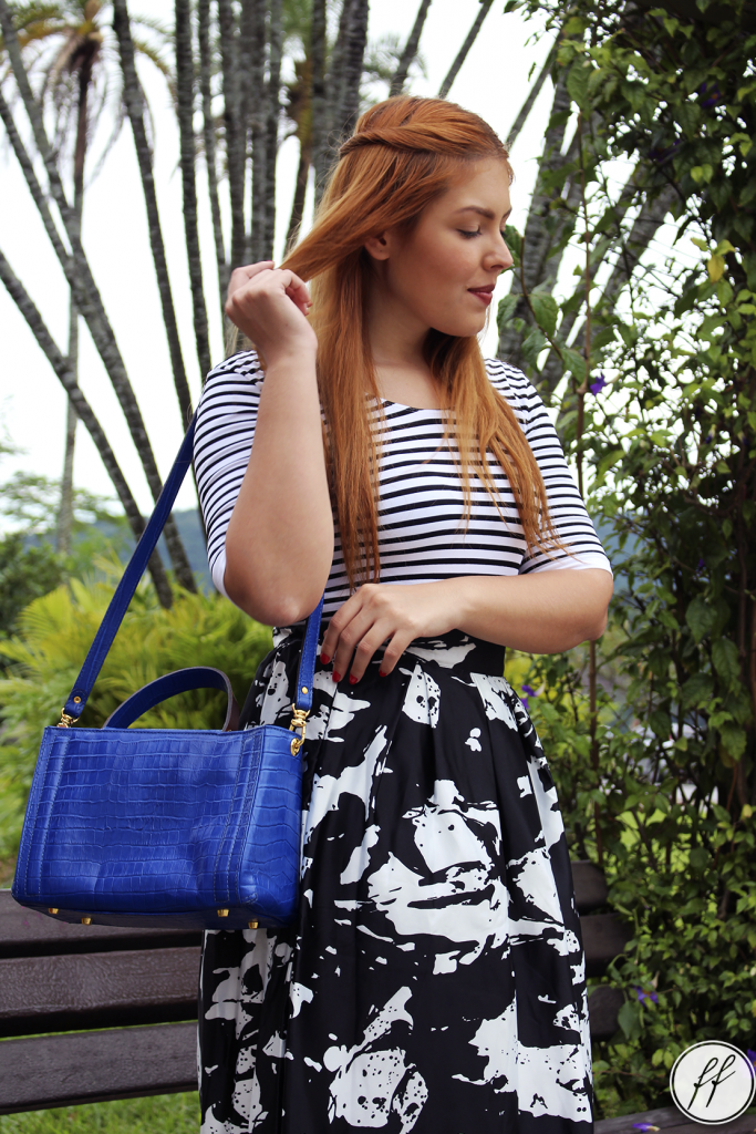 Look Mix de Estampas Bolsa Azul 6