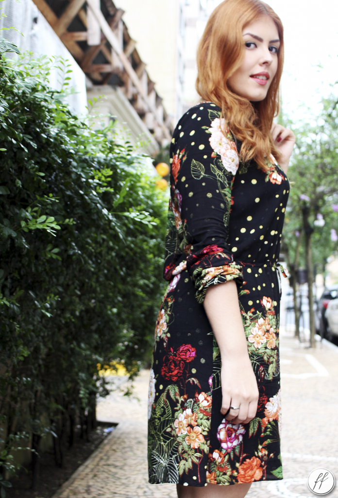 Look Vestido Preto Estampado Floral A Colorida 4