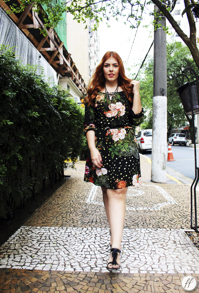Look Vestido Preto Estampado Floral A Colorida 5