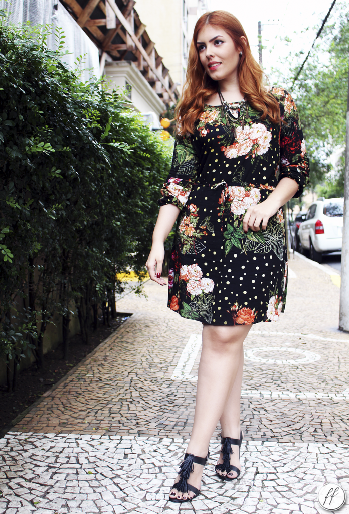 Look Vestido Preto Estampado Floral A Colorida 6