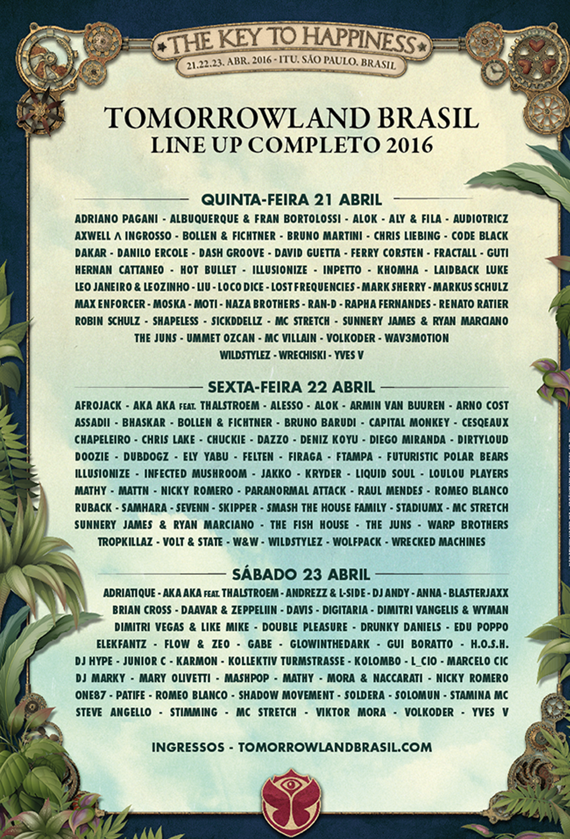 Line-Up Tomorrowland Brasil 2016 2